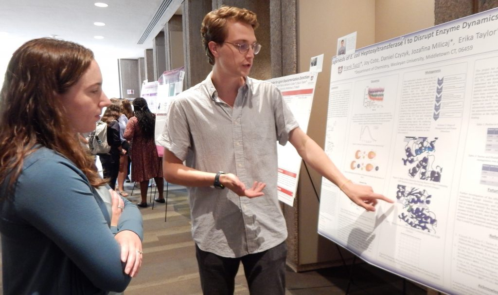 Image of Professor Michelle Personick and Frank Tucci '19 pointing out information on a poster to Professor Michelle Personick